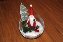 Geldgeschenk-Nikolaus mit Geldtanne im Glas